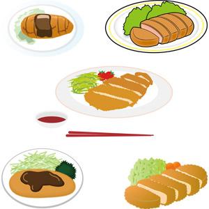 フリーイラスト, ベクター画像, AI, 食べ物(食料), 料理, 日本料理, 洋食, 肉料理, 豚カツ(とんかつ), 揚げ物