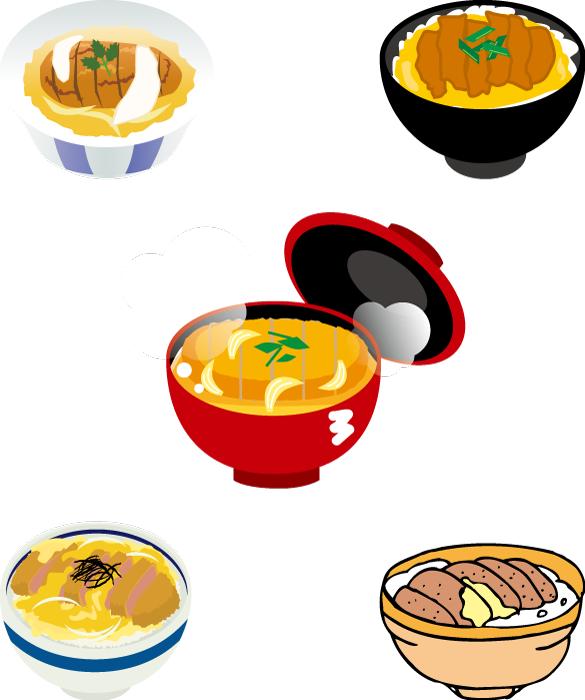フリーイラスト 5種類のカツ丼のセット