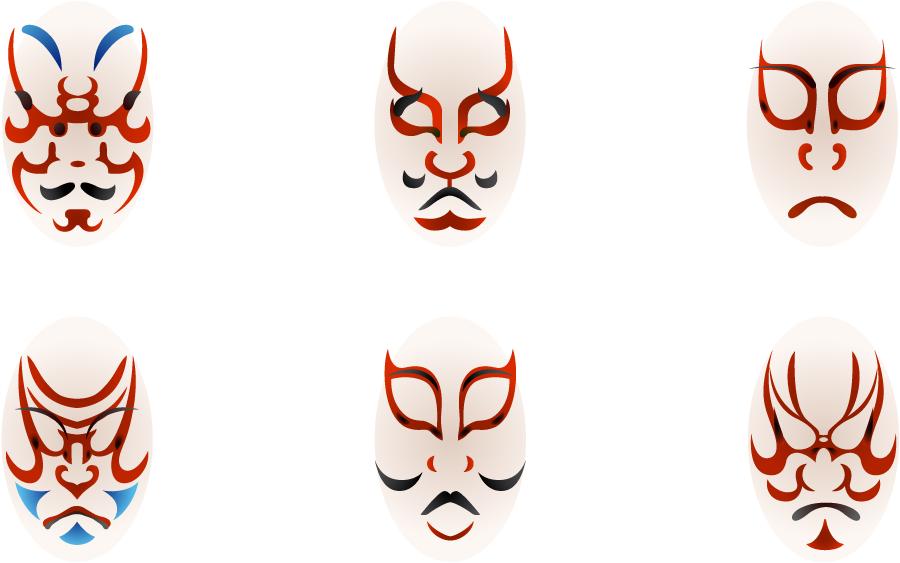 フリーイラスト 6種類の歌舞伎メイクのセット