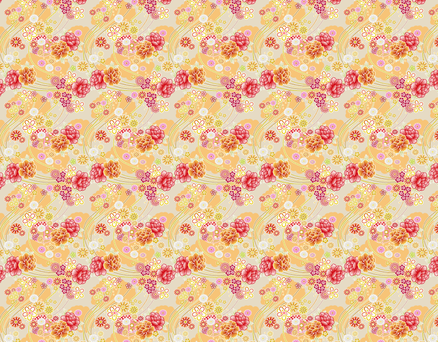 フリーイラスト 牡丹の花と毬の和柄背景