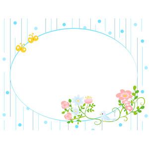フリーイラスト, ベクター画像, AI, 背景, フレーム, 円形フレーム, 雨, 花, 青い鳥, 小鳥, 蝶(チョウ)