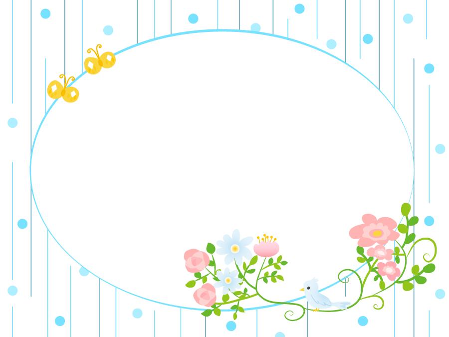フリーイラスト 鳥の止まる花と雨の飾り枠
