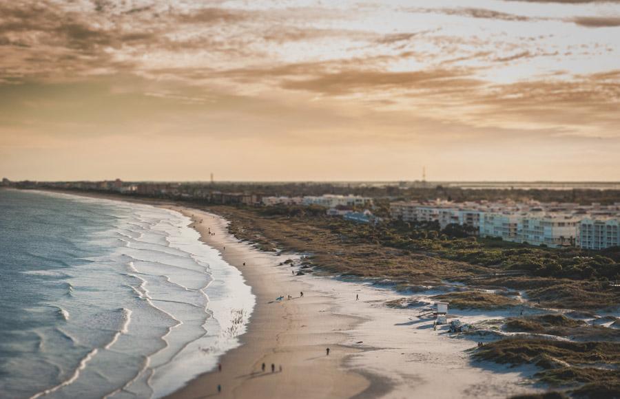 フリー写真 ポート・カナベラルの夕暮れのビーチの風景