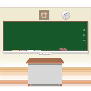 フリーイラスト, ベクター画像, AI, 風景, 学校, 教室, 黒板, 掛け時計, 教卓