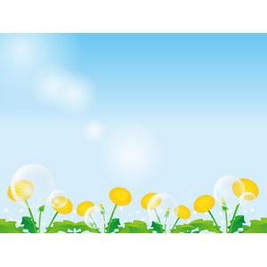 フリーイラスト, ベクター画像, AI, 風景, 青空, 植物, 花, 蒲公英(タンポポ), 黄色の花, しゃぼん玉(シャボン玉)