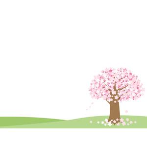 フリーイラスト, ベクター画像, AI, 背景, 樹木, 花, 桜(サクラ), ピンク色の花, 春