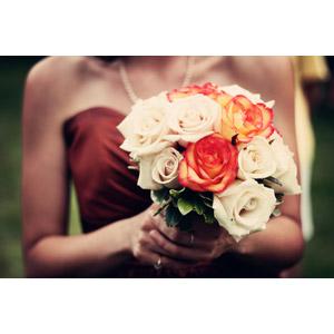 フリー写真, 植物, 花, 薔薇(バラ), ブーケ, 結婚式(ブライダル), 花嫁(新婦)