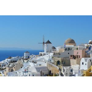 フリー写真, 風景, 建造物, 建築物, 街(町), 街並み(町並み), 海, エーゲ海, サントリーニ島(ティーラ島), ギリシャの風景, 風車