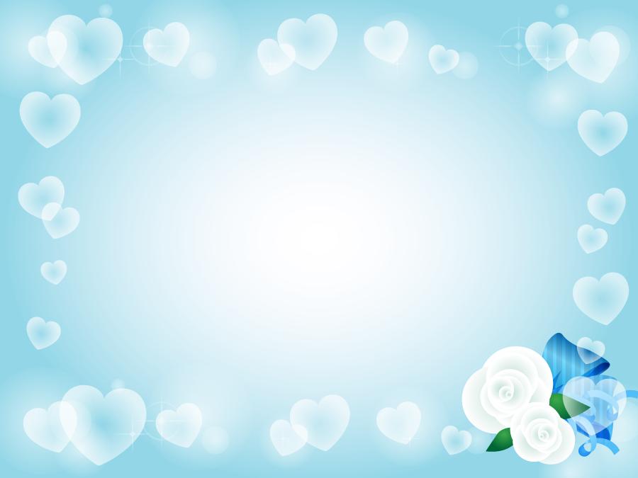 フリーイラスト 白い薔薇とリボンとハートのホワイトデーの背景