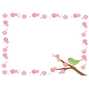 フリーイラスト, ベクター画像, AI, 背景, フレーム, 囲みフレーム, 花, 梅(ウメ), ピンク色の花, 鳥(トリ), 鶯(ウグイス), 春