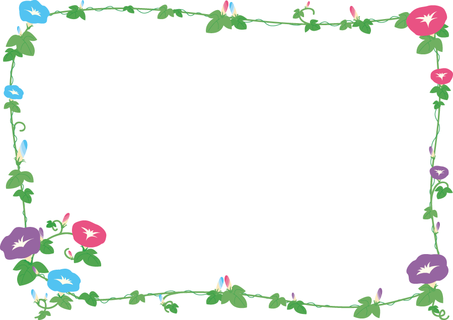 フリーイラスト 三色のあさがおの飾り枠