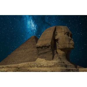 フリー写真, 風景, 建造物, 建築物, ピラミッド, ギザのピラミッド, スフィンクス, 夜, 星(スター), 天の川, エジプトの風景, 彫像
