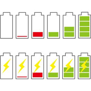 フリーイラスト, ベクター画像, AI, アイコン, 電池(バッテリー), バッテリー残量