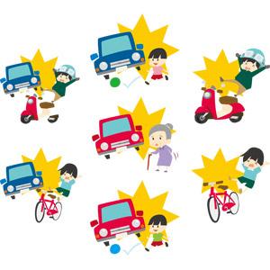 フリーイラスト, ベクター画像, AI, 災害, 事故, 交通事故, 乗り物, 自動車, スクーター, 自転車, 男の子, 男性, 老人, 祖母(おばあさん), 人と乗り物