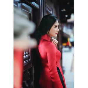 フリー写真, 人物, 女性, アジア人女性, 女性(00168), ベトナム人, アオザイ, 横顔
