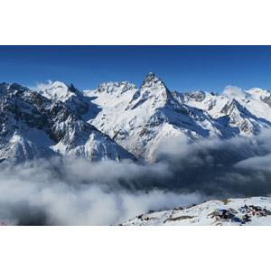 フリー写真, 風景, 山, 雲, 雪, ロシアの風景, コーカサス山脈