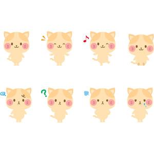 フリーイラスト, ベクター画像, AI, 動物, 哺乳類, 猫(ネコ), 泣く(動物), 怒る(動物)