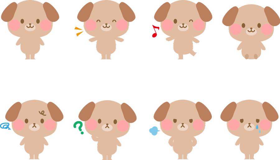 フリーイラスト 8種類のいろいろな表情の犬のセット