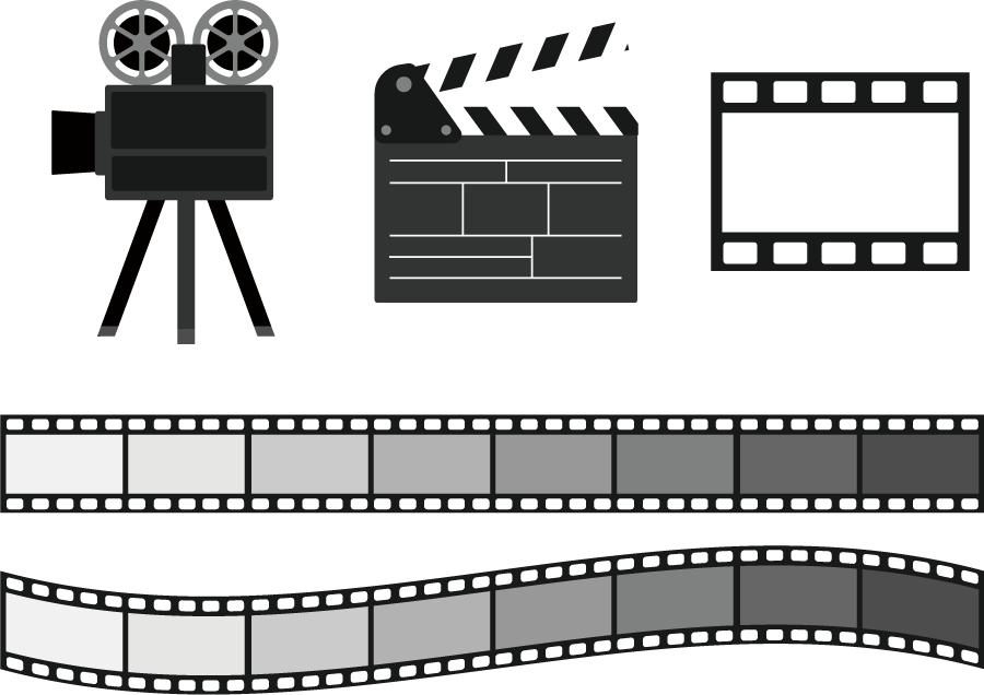 フリーイラスト 映写機とカチンコとフィルムの映画のセット