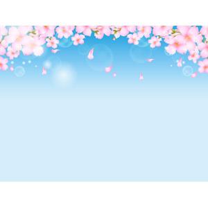 フリーイラスト, ベクター画像, AI, 背景, 植物, 花, 桜(サクラ), 花びら, 春, 青空, ピンク色の花