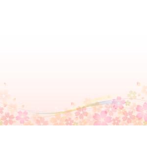 フリーイラスト, ベクター画像, AI, 背景, 花柄, 桜(サクラ), 花びら, 春, 波線, ピンク色