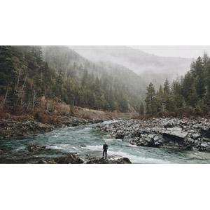 フリー写真, 風景, 山, 河川, 霧(霞), 人と風景, 後ろ姿, アメリカの風景, カリフォルニア州