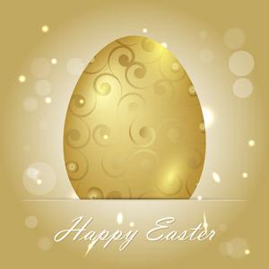 フリーイラスト, ベクター画像, AI, 背景, 卵(タマゴ), 金色(ゴールド), 年中行事, 復活祭(イースター), 光(ライト)
