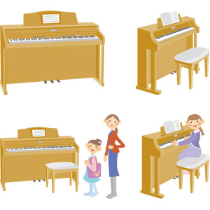 フリーイラスト, ベクター画像, AI, 音楽, 楽器, 鍵盤楽器, ピアノ, 人物, 子供, 女の子, 教師(先生), 演奏する