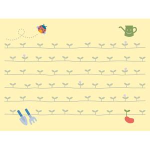 フリーイラスト, ベクター画像, EPS, 背景, 畑, 新芽, 春, てんとう虫(テントウムシ), じょうろ, スコップ(シャベル), 熊手