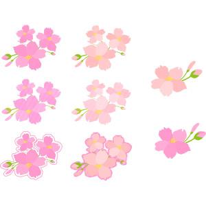 フリーイラスト, ベクター画像, AI, 植物, 花, 桜(サクラ), ピンク色の花, 春