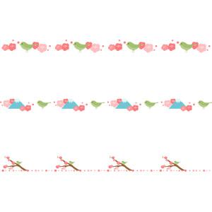 フリーイラスト, ベクター画像, AI, 飾り罫線(ライン), 花, 梅(ウメ), 春, 動物, 鳥類, 鳥(トリ), 鶯(ウグイス)