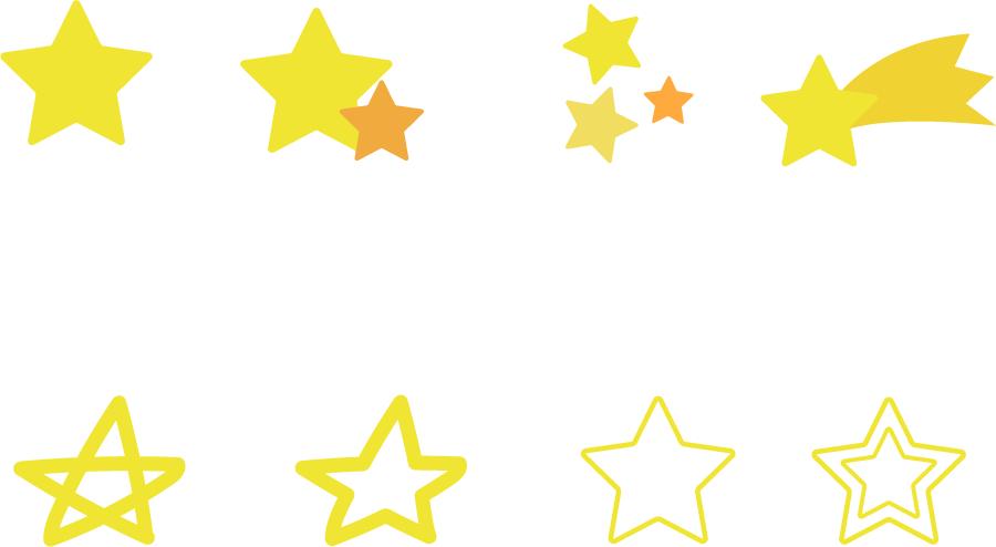 フリーイラスト 8種類の星のセット