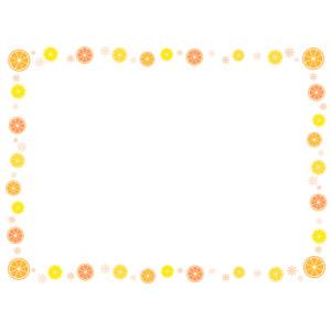 フリーイラスト, ベクター画像, AI, 背景, フレーム, 囲みフレーム, 食べ物(食料), 果物(フルーツ), オレンジ, レモン