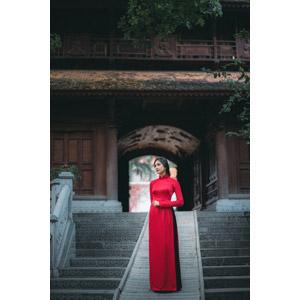 フリー写真, 人物, 女性, アジア人女性, 女性(00168), ベトナム人, アオザイ, 人と風景, 寺院, お寺(仏閣), 門(ゲート), 階段