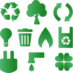 フリーイラスト, ベクター画像, AI, エコロジー, アイコン, リサイクル, シンボル, 樹木, 電球, ゴミ箱, 火(炎), レジ袋, コンセントプラグ, 水道, 蛇口, 水滴(雫), クローバー(シロツメクサ), 四つ葉のクローバー, 緑色(グリーン)