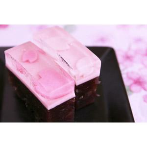 フリー写真, 食べ物(食料), 菓子, 和菓子, 羊羹(ようかん), 桜(サクラ), 春, ピンク色