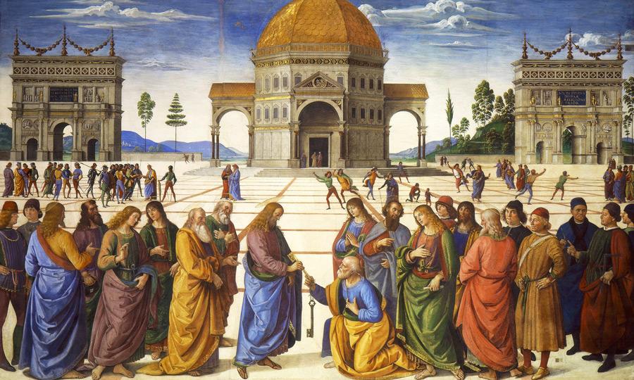フリー絵画 ペルジーノ作「聖ペテロへの天国の鍵の授与」