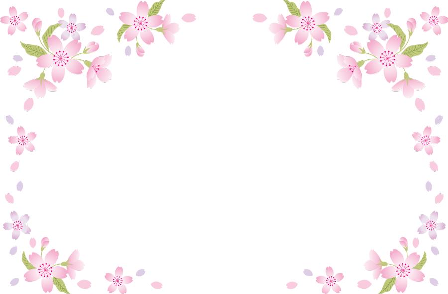 フリーイラスト さくらの花と花びらの飾り枠