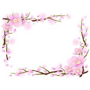 フリーイラスト, ベクター画像, EPS, 背景, フレーム, 囲みフレーム, 植物, 花, 桜(サクラ), 花びら, 枝