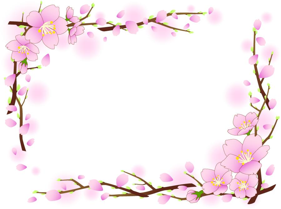 フリーイラスト 枝付きの桜の花のフレーム