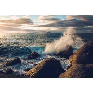 フリー写真, 風景, 自然, 海, 波しぶき, 岩