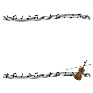 フリーイラスト, ベクター画像, AI, 背景, フレーム, 上下フレーム, 音楽, 楽器, 弦楽器, バイオリン(ヴァイオリン), 楽譜