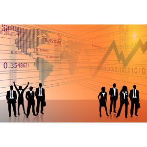 フリーイラスト, ビジネス, ビジネスマン, ビジネスウーマン, 仲間, グローバルビジネス, 世界地図, 折れ線グラフ, データ, シルエット(人物), オレンジ色, 集団(グループ), 職業, 仕事