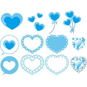 フリーイラスト, ベクター画像, AI, 青色(ブルー), ハート, 風船, 吹き出し, レース編み, 宝石, ダイヤモンド