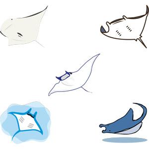 フリーイラスト, ベクター画像, AI, 動物, 魚類, 鱏(エイ), マンタ(オニイトマキエイ)
