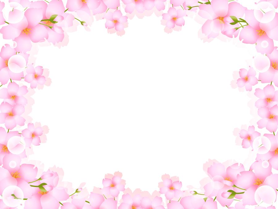 フリーイラスト 桜の花と光の玉の飾り枠
