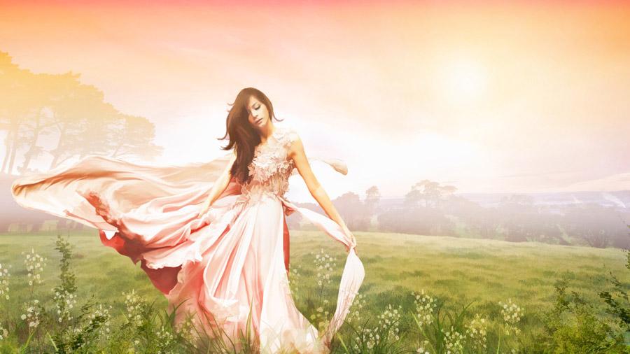 フリーイラスト 草原とドレス姿の女性