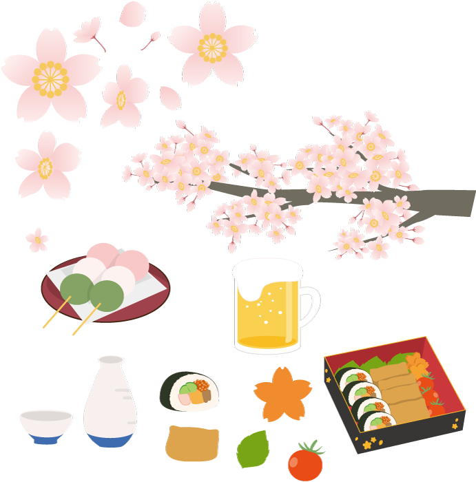 フリーイラスト 桜の花とお花見のセット