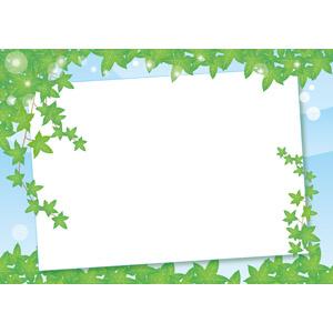 フリーイラスト, ベクター画像, AI, 背景, フレーム, 囲みフレーム, 植物, 蔦(ツタ), 葉っぱ, メッセージボード