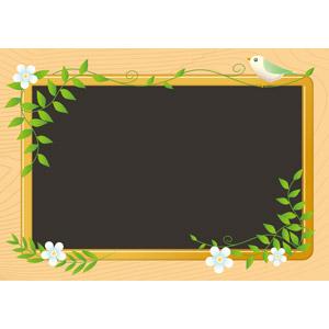 フリーイラスト, ベクター画像, AI, 背景, フレーム, 囲みフレーム, 黒板, 小鳥, 蔦(ツタ), 花, 木目